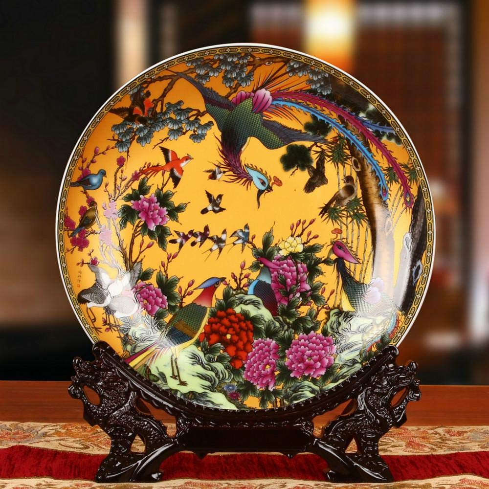 HGTZ Chinese Style 10 inches Birds paying homage to the Phoenix Ceramic Decorative Round Plate