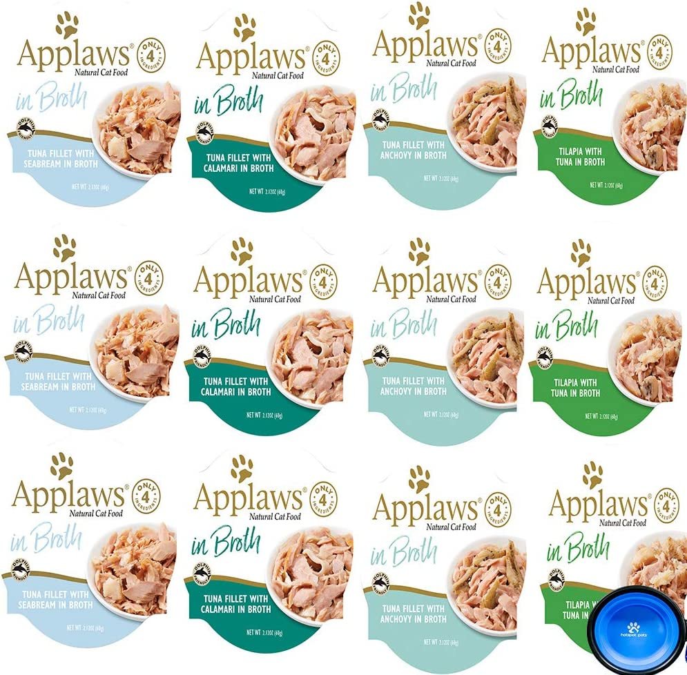 Applaws Cat Food in Broth Pots Variety Bundle Pack -Tuna Lovers Variety Pack 4 Flavors - 2.12 Ounces Each (12 Total) W/Hotspot Pets Collapsible Bowl