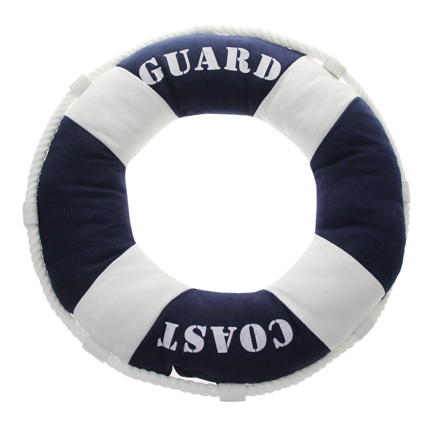 Decorative Nautical Cotton Throw Pillow - Beach Theme 16'' X 16'' Navy Blue White Life Ring Buoy Design, Sofa Couch Bedroom Cushion