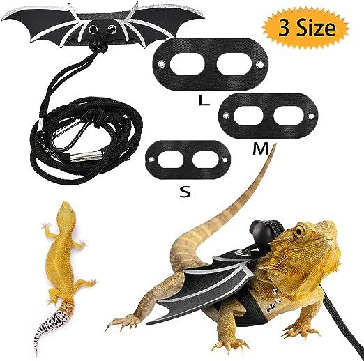 Bluesees - Arnés de piel de lagarto con barba, ajustable, para reptiles de lagarto, para reptiles, anfibios y otros animales pequeños en 3 tamaños S/M/L: Amazon.es: Hogar