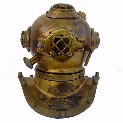 Antique Deep Sea Desk Decor U.S Navy Solid Brass Mini Diving Divers Helmet 6/'/'