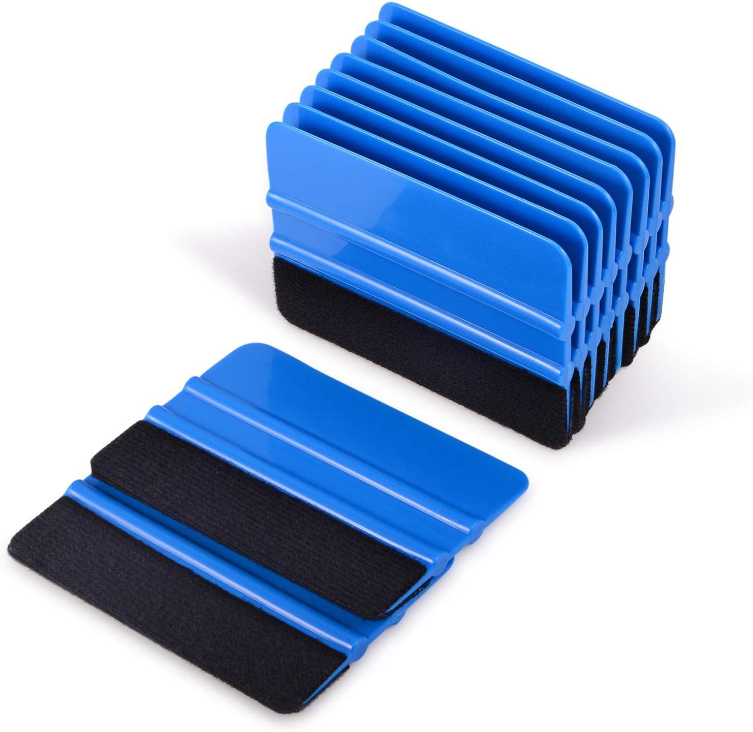 Blue Car Window Scraper,Felt Wrapping Squeegee Applicator Tool