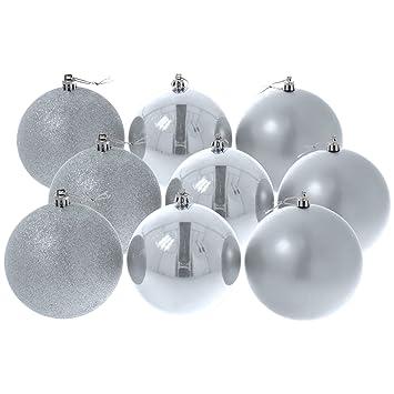 Christbaumkugeln Silber Matt.Hiskol Christbaumkugeln Silber Glanzend Matt Glitzernd O 8 Cm 9er Pack