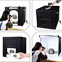 House Of Quirk Cube Box Black LED Lighting Table Top Photo Shooting Tent Kit with Portable Bag, AC Adapter