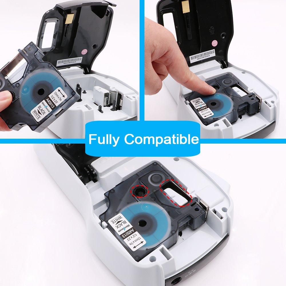 6x Compatible con DYMO D1 45010 45013 45016 45017 45018 45019 Cinta de Etiquetas 12mm x 7m para DYMO LabelManager 160 200 210D 220P 260P 400 420P 450 DUO 450D