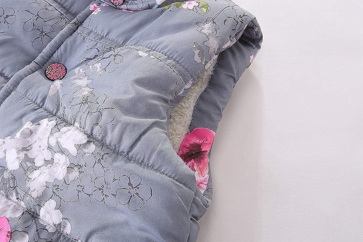 Mud Kingdom Girls Floral Faux Fur Cute Vests Outerwear S-S0210
