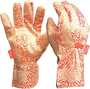 DIGZ Cotton Canvas Garden Gloves with Mini Dots, Single Pair, Rose Pattern, Medium