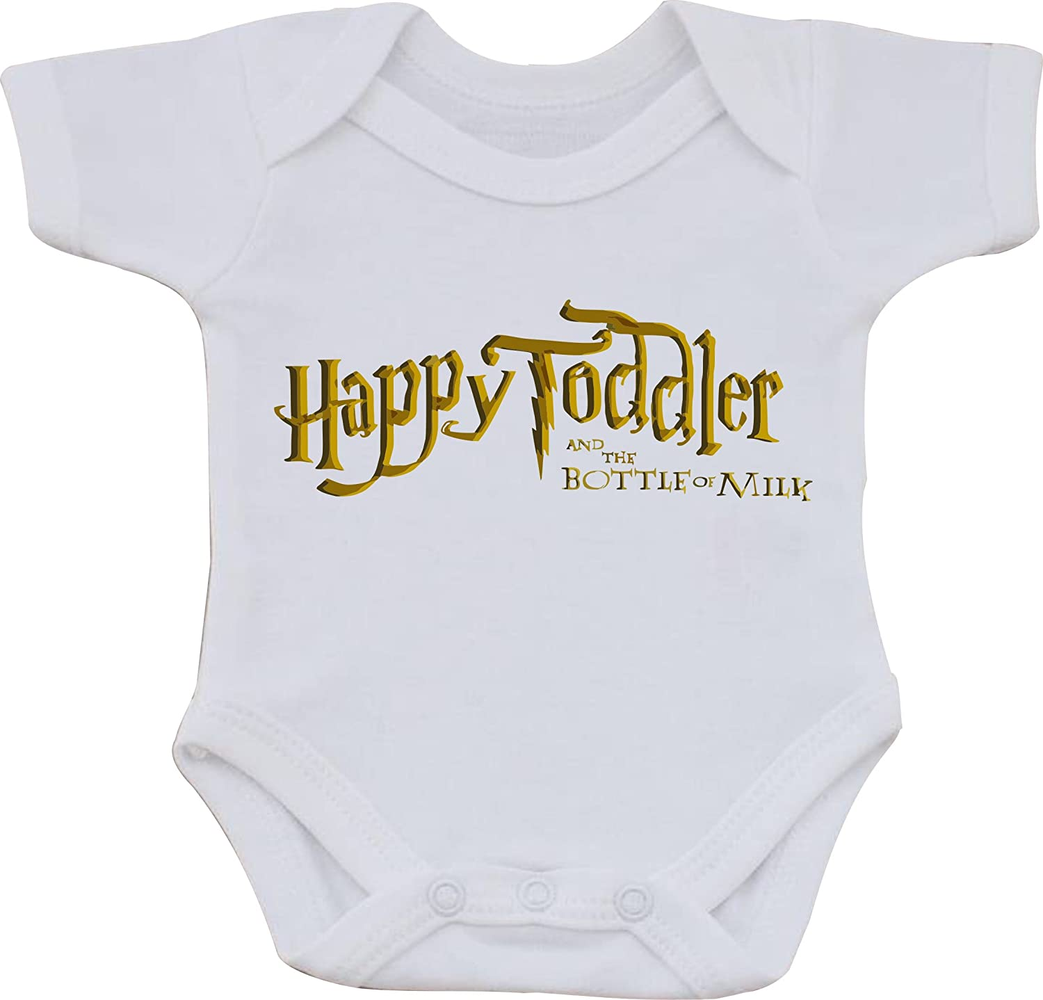 magic moments Happy Toddler and The Bottle Of Milk Harry Potter Full Color Funny Sublimation White Baby Vest OR Bib