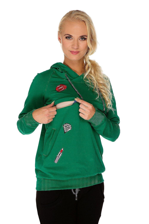 Stillpullover Mutterschafts Sweatshirt Kapuzenpullover Maggie grün Umstandsmode von MY TUMMY ®©™