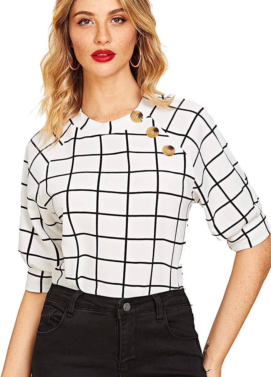 Romwe Women's Buttons Puff Sleeve Elegant Vintage Blouse Shirts Top