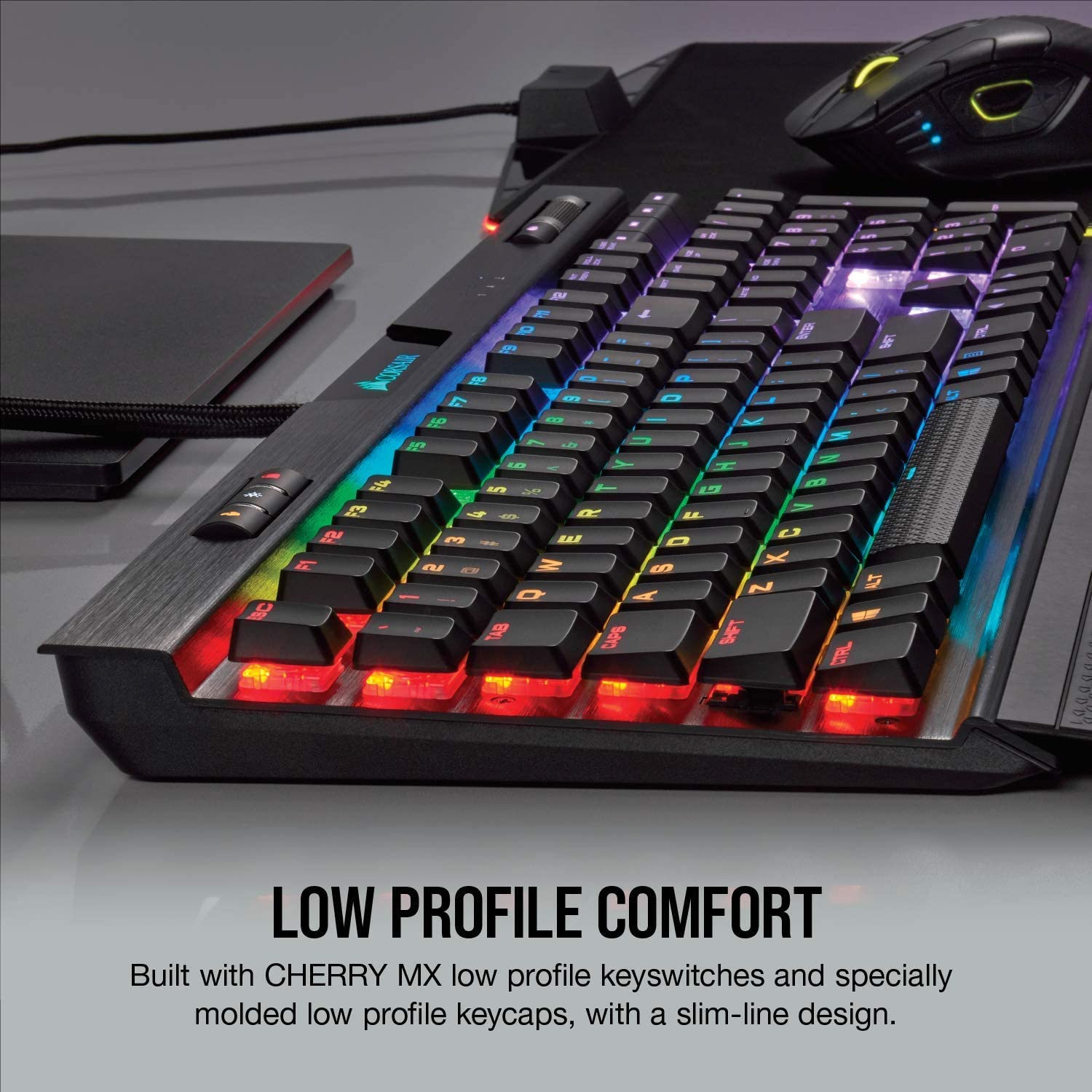 Corsair K70 RGB MK.2 Low Profile Mechanical Gaming Keyboard Backlit RGB LED Cherry MX Low Profile Red CH-9109017-NA Linear /& Quiet