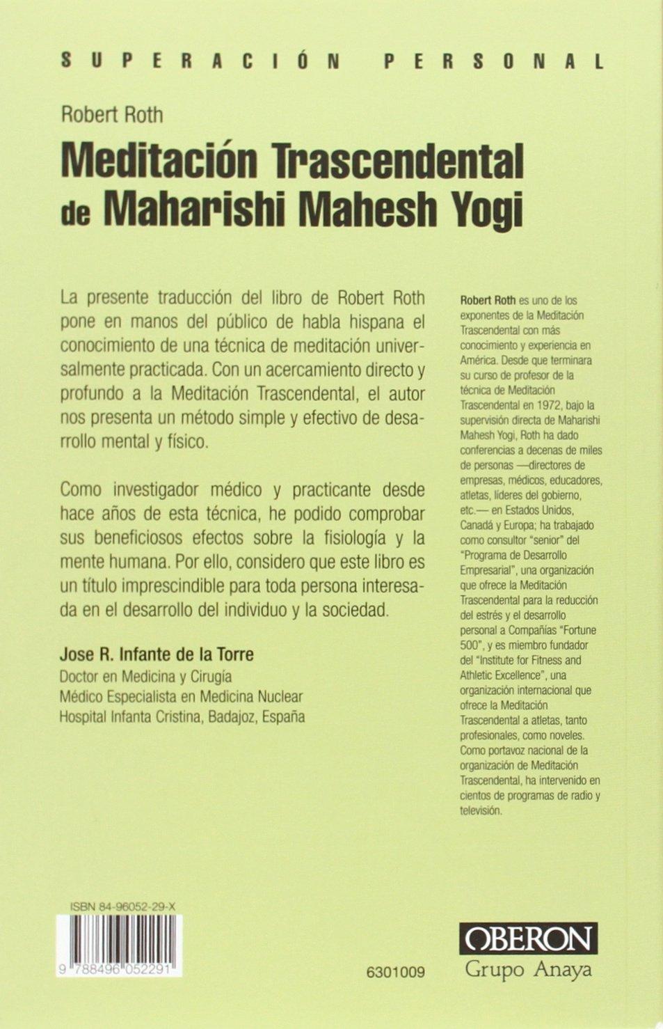 Meditación trascendental de Maharishi Mahesh Yogi Superación Personal: Amazon.es: Roth, Robert: Libros