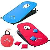 Himal Collapsible Portable Cornhole Game Boards 10 Cornhole Bean Bags Cornhole Set Tic Tac Toe Game 2 Games on 1 Board…