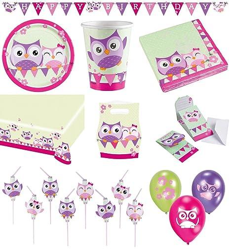 Großartig 68 Teiliges Party Set Eulen Teller, Becher, Servietten, Tischdecke,  Einladungskarten, Partykette, Partytüten, Trinkhalme, Luftballons:  Amazon.de: Spielzeug