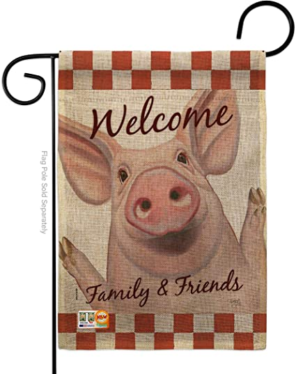 Amazon Com Breeze Decor Barnyard Animals Welcome Piggy Garden Flag Cow Horse Rooster Farmhouse Pet Nature Farm Animal Creature Small Decorative Gift Yard House Banner Double Sided Made In Usa 13 X 18 5