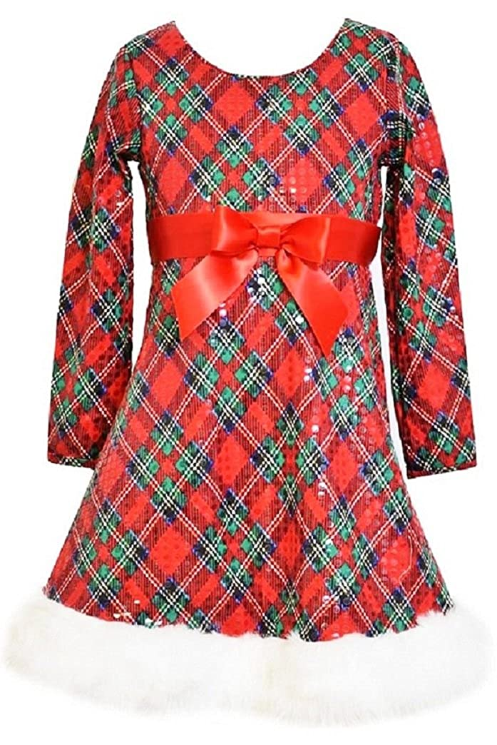 Vintage Style Children's Clothing: Girls, Boys, Baby, Toddler Bonnie Jean Girls Sequins Plaid Fit & Flare Santa Holiday Dress Green/Red $38.99 AT vintagedancer.com