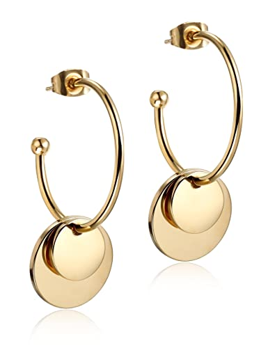 a381e00780d50 Wistic Women's Stainless Steel Gold Plated Double Ball Hoop Earrings ...