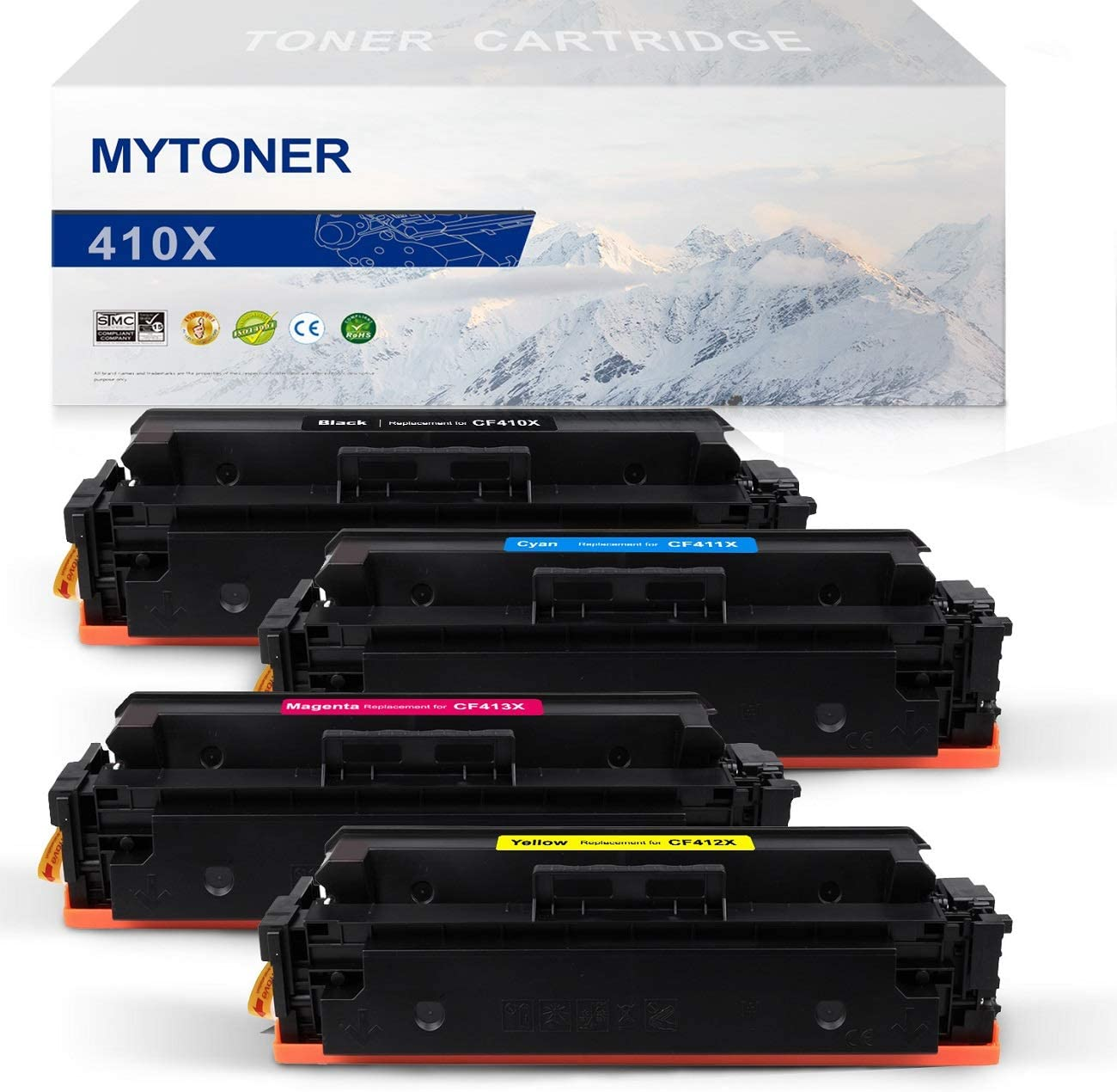 MYTONER Compatible Toner Cartridge Replacement for HP 410X CF410X 410A CF410A High Yield (Black Cyan Magenta Yellow, 4-Pack)