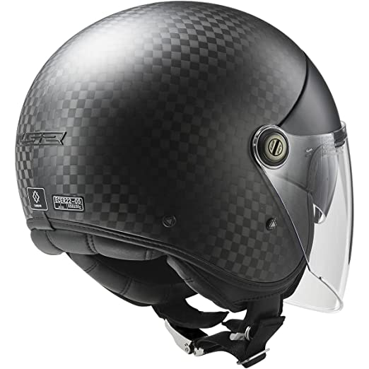Amazon.com: LS2 Helmets Cabrio Carbon Open Face Motorcycle Helmet with Sunshield (Black, Small): Automotive