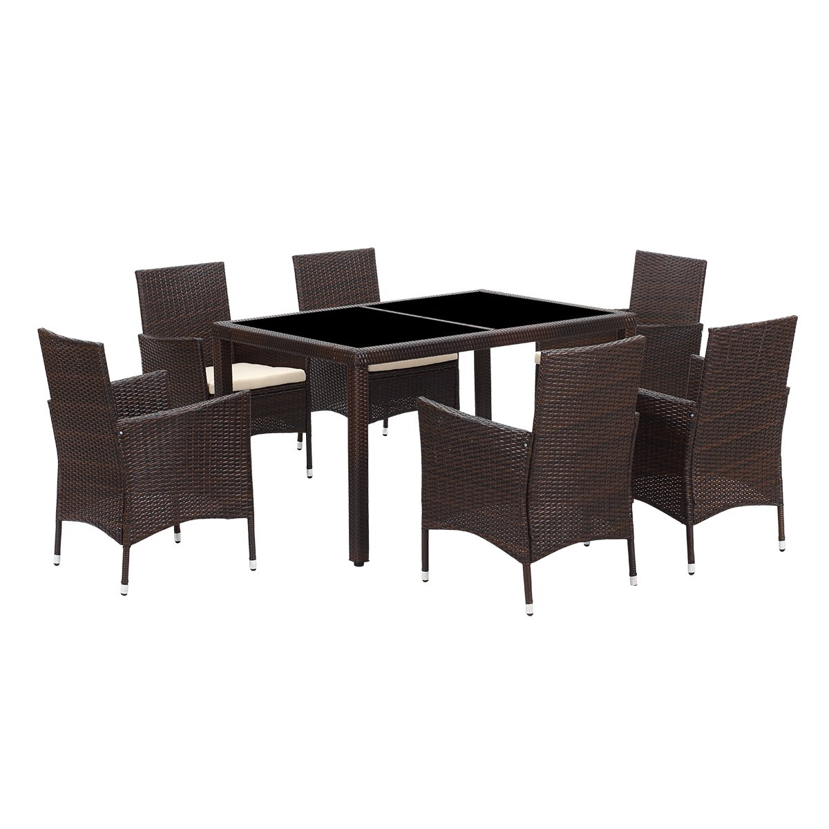 Wisteria Lane 7 Piece Patio Wicker Dining Set, Outdoor Rattan Dining Furniture Glass Table Cushioned Chair,Brown by Wisteria Lane