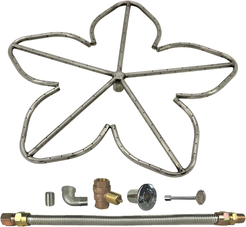 FPS-HBSB48KIT-LP-MSCB Propane Match Light Spotix HPC Rectangle H-Burner Fire Pit Burner Kit 48x10-Inch Burner