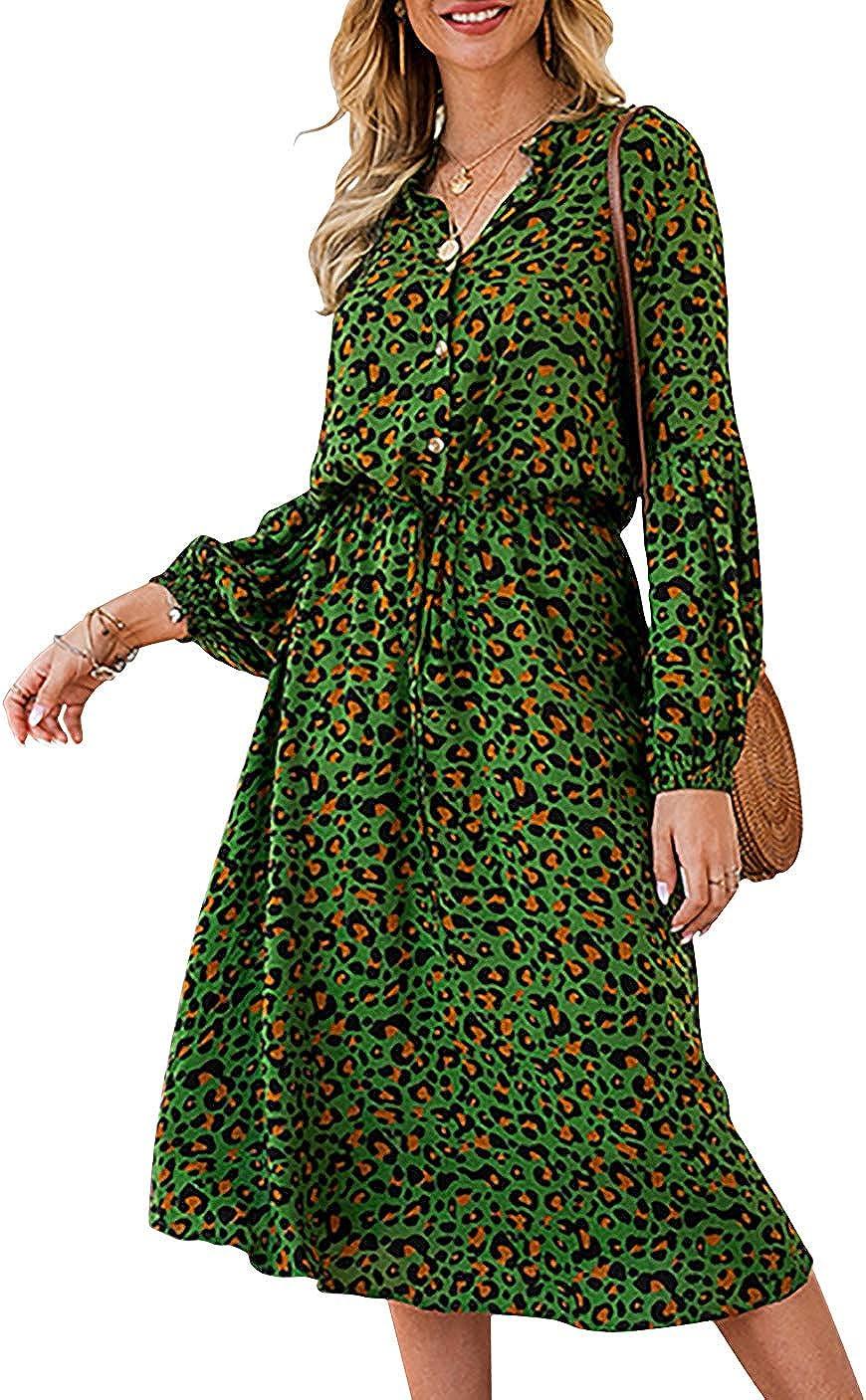 AmzBarley Women Midi Dresses Summer Floral Long Sleeve Casual Dress T Shirt Elegant Formal Work Ladies Dresses