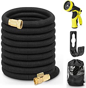 "Hermard 50ft Expandable Garden Hose with 9 Function Nozzle, Lightweight Flexible Leakproof Water Hose with Solid 3/4"" Brass Fittings, Kink Free Extra Strength 3750D Durable Gardening Hose Pipe"