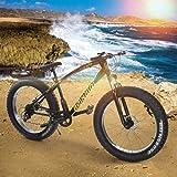 "Fat Tire Mountain Bike, 26"" 21-Speed Mountain Bike for Exercise Fitness, Dual Suspension MTB, Model AL-WDF01"