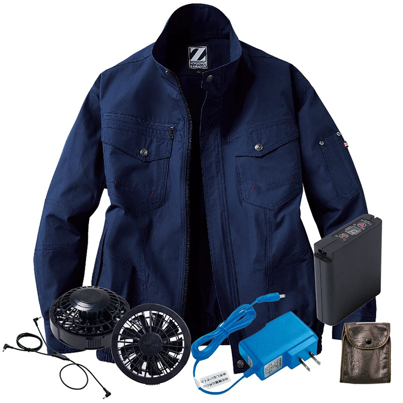 空調服 Z-DRAGON ブルゾン黒ファンバッテリーセット 74002 自重堂 B07D6BVPT1 11ネービー 4L