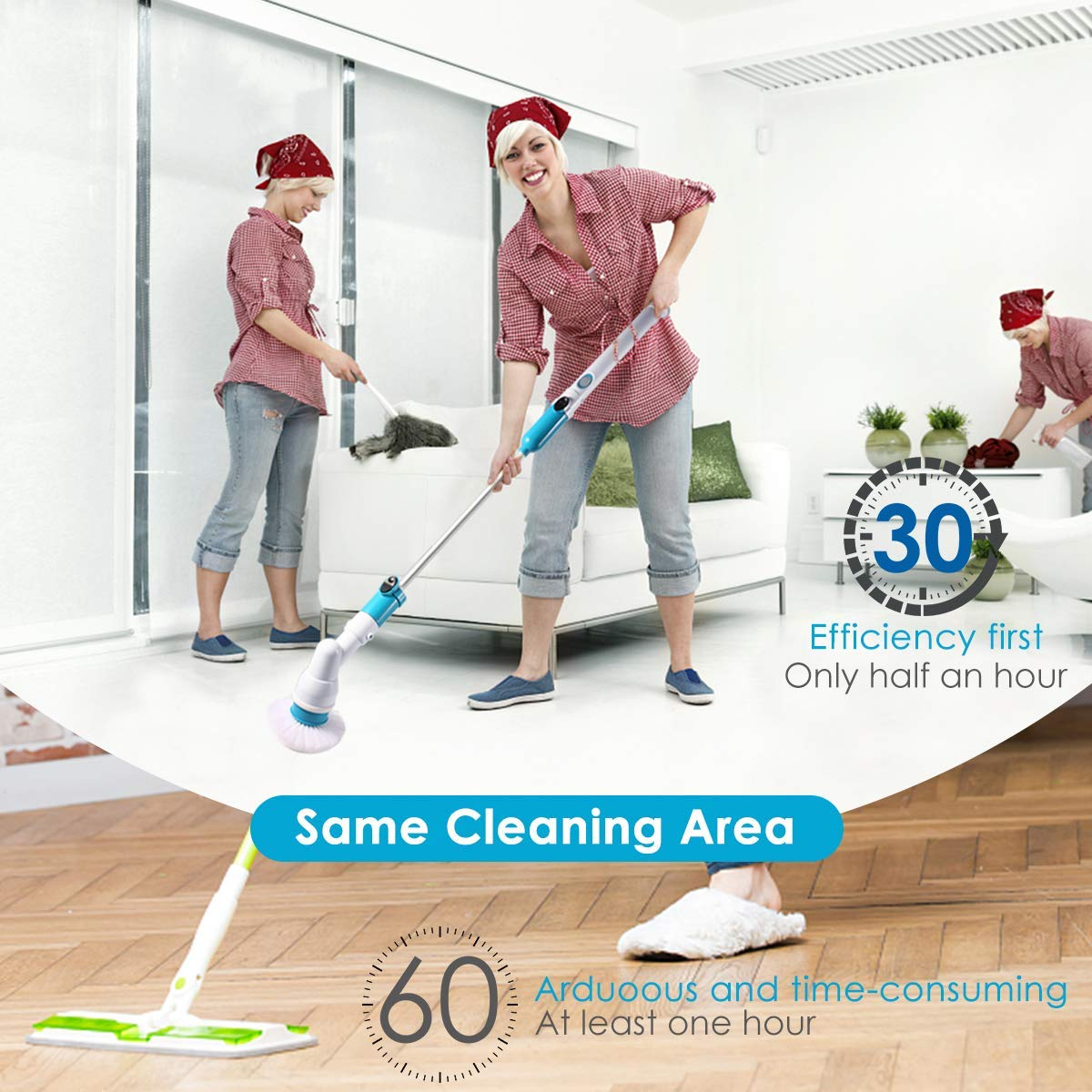 Spin Scrubber, 360 Cordless Tub and Tile Scrubber, Multi-Purpose Power Surface Cleaner with 3 Replaceable Cleaning Scrubber Brush Heads, 1 Extension Arm and Adapter by Bert (Image #3)