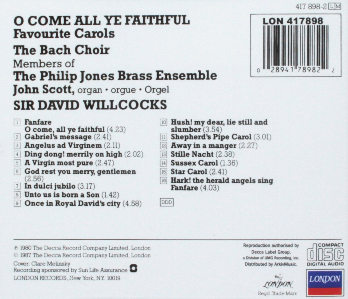 David Willcocks, The Philip Jones Brass Ensemble, The Bach Choir, John Scott - O Come All Ye Faithful: Favourite Carols - Amazon.com Music