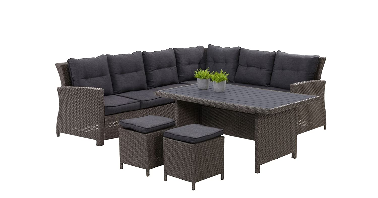 hohe dining poly rattan lounge havanna inkl kissen. Black Bedroom Furniture Sets. Home Design Ideas