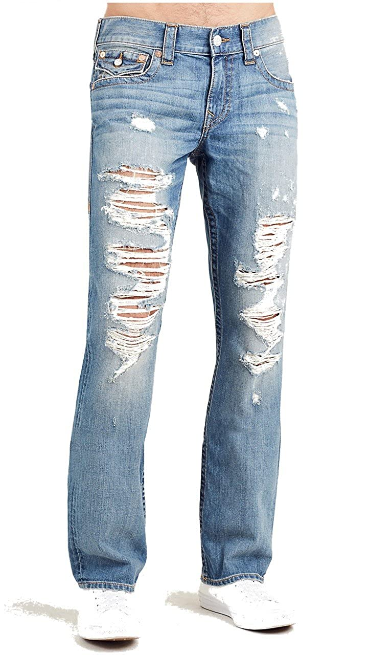 cee779845 Top9  True Religion Men s Straight Leg Relaxed Fit Flap Destruct Jeans in  Rocky Sand w  Rips