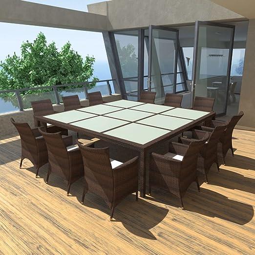 Festnight Poly Ratán Muebles de Jardín Exterior para 12 Personas Estructura de Acero Impermeable y Resistente a la Intemperie Color Marrón Conjunto Mesa y Sillas Terraza: Amazon.es: Jardín