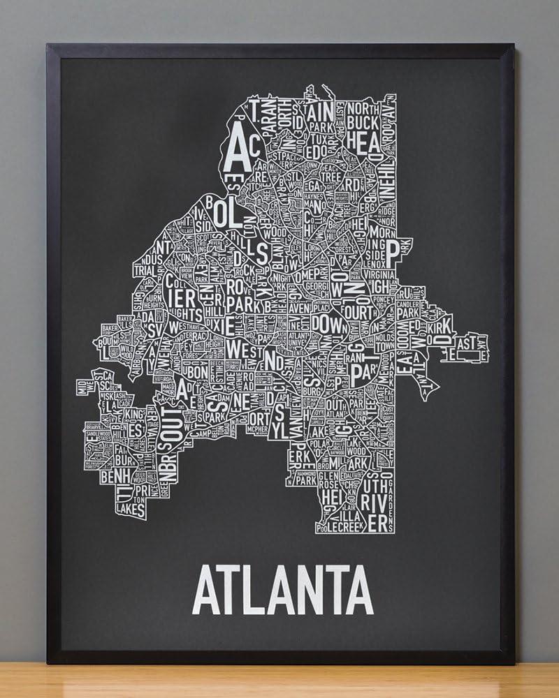 Ork Posters Framed Austin Neighborhoods Map Screen Print, Black & White, 18