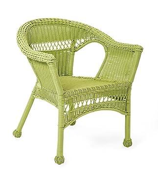 Silla de mimbre de resina, cuidado fácil, color verde ...