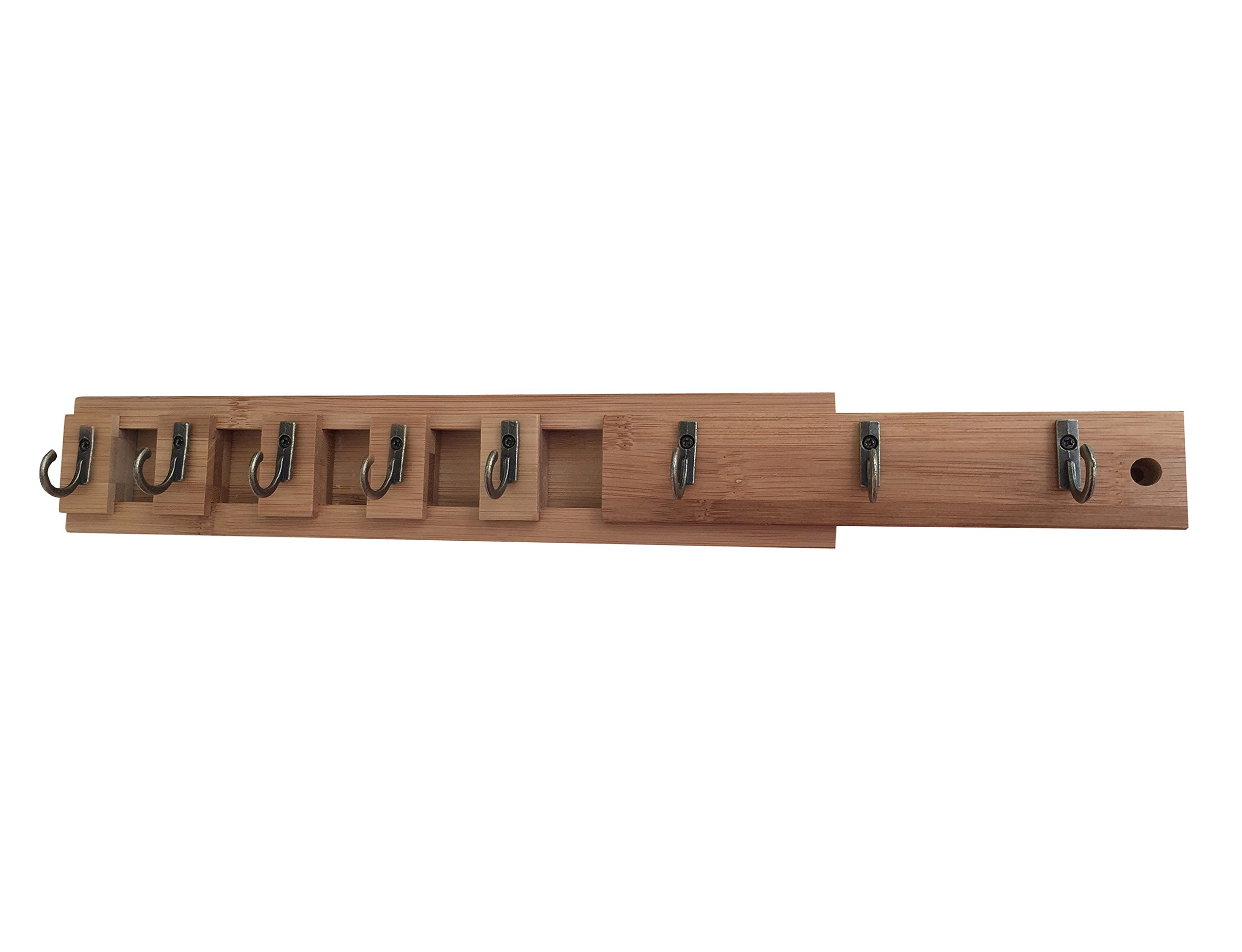 New and Improved Wood Expandable Cabinet Organizer with 8 Heavy Duty Hooks