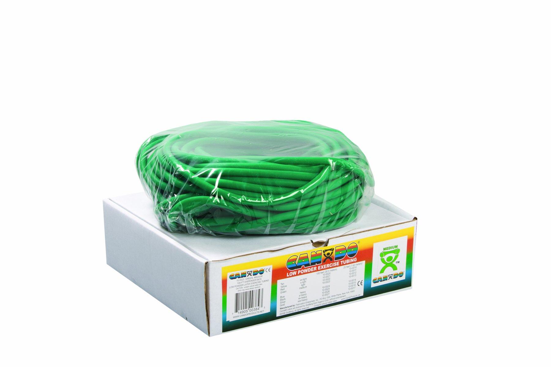 Cando 10-5523 Green Exercise Tubing, Medium Resistance, 100' Length