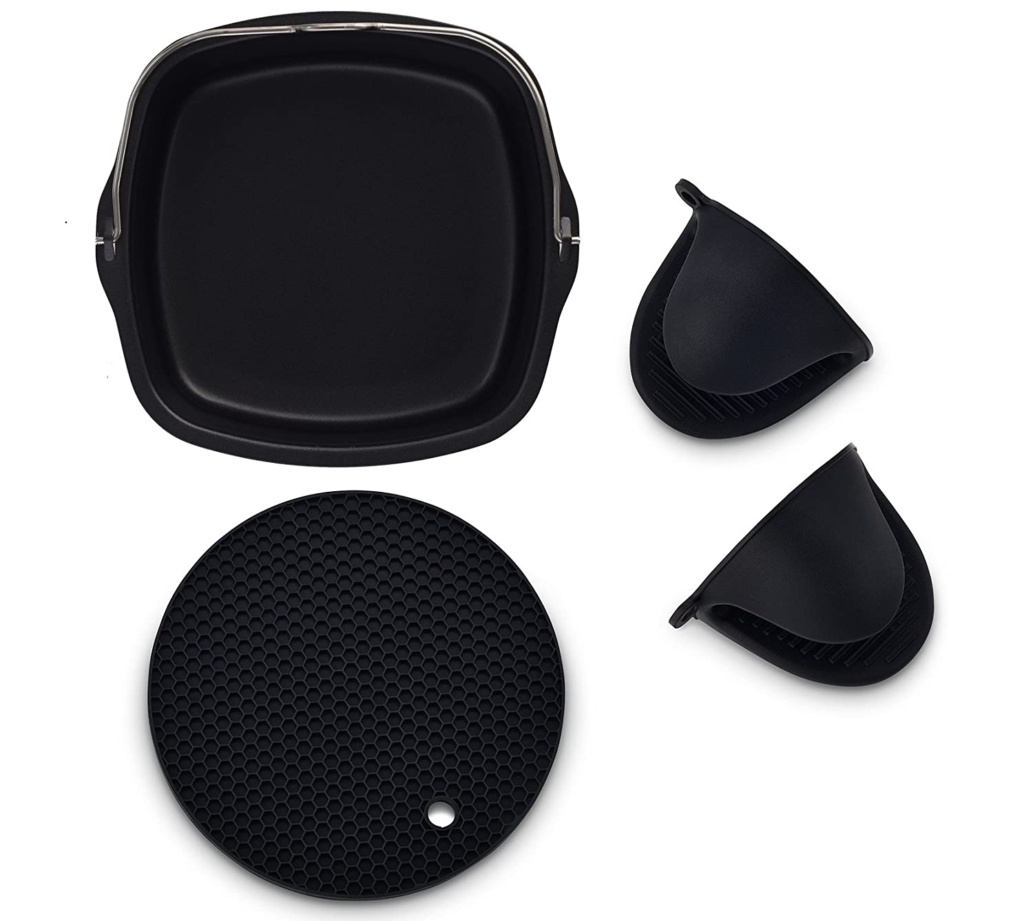 Air Fryer Non-Stick Baking Pan Fits Philips Airfryer, GoWise USA, Power Airfryer, Cozyna, Avalon Bay & Premium Silicone Mini Oven Mitts & Silicone Trivet-Air Fryer Accessories-Set of 3 ( Black)