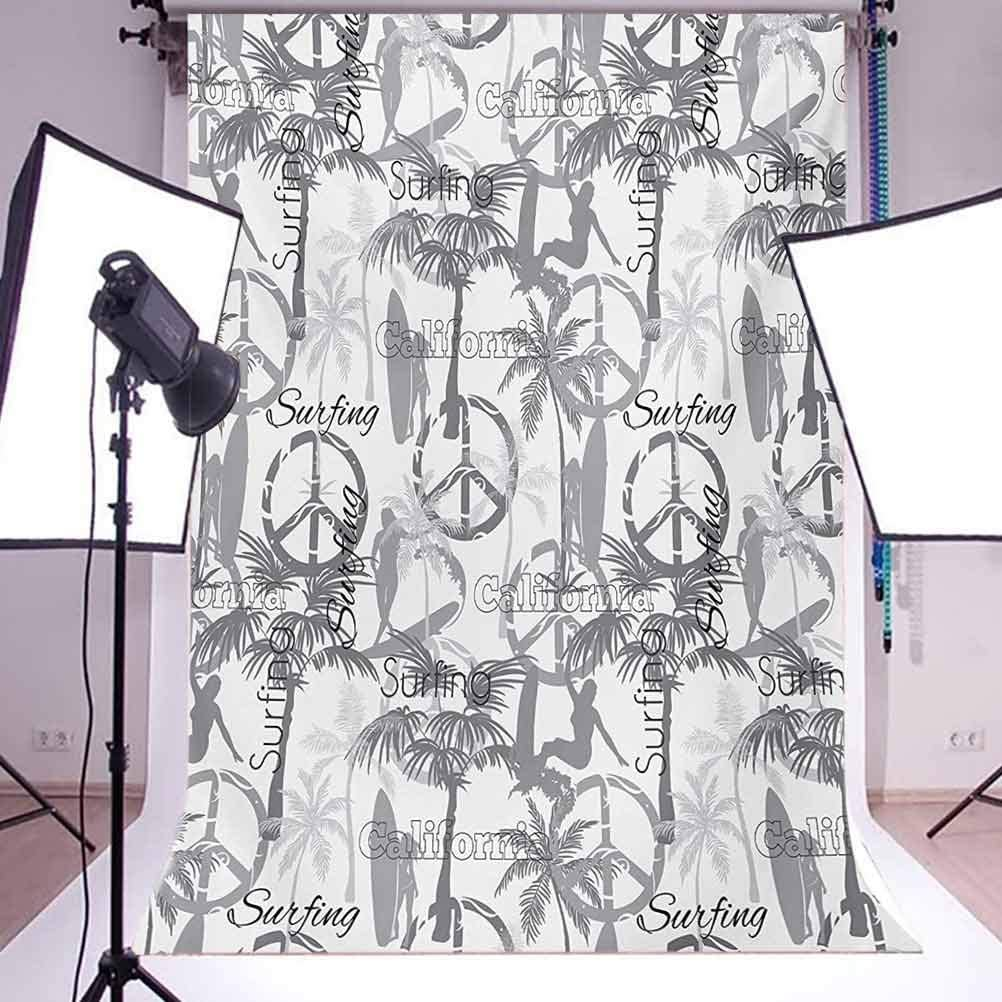 Surf 8x10 FT Backdrop Photographers,Silhouette of a Surfing Lady Woman in The Ocean Peace Signs Retro Pattern Artwork Background for Child Baby Shower Photo Vinyl Studio Prop Photobooth Photoshoot
