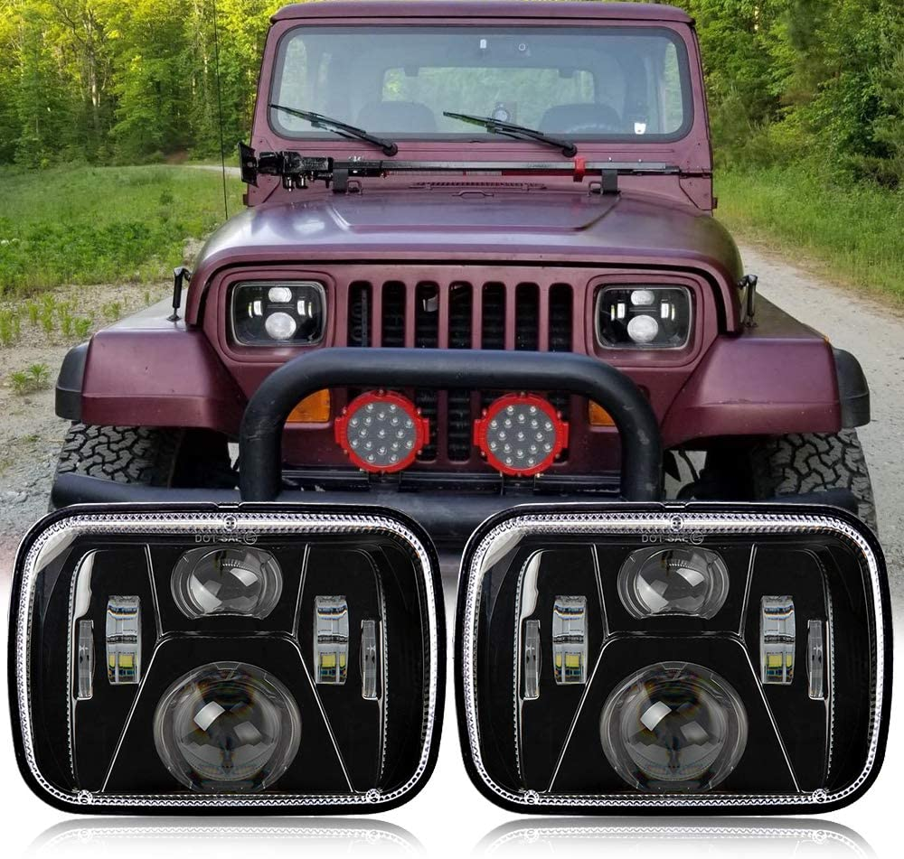 Perzework 110W 5x7 Inch Led Headlights 7x6 Led Sealed Beam Headlamp with High Low Beam H6054 6054 Led Headlight for Jeep Wrangler YJ Cherokee XJ H5054 H6054LL 6052 6053 2 Pcs Black