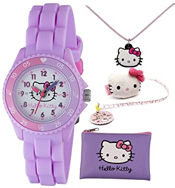 d9f505779 TIKKERS HELLO KITTY GIRLS LILAC SILICONE RUBBER STRAP TIME TEACHER WATCH  SET (PURSE, NECKLACE & MEASURING TAPE) - HK032TAPE: Amazon.co.uk: Watches