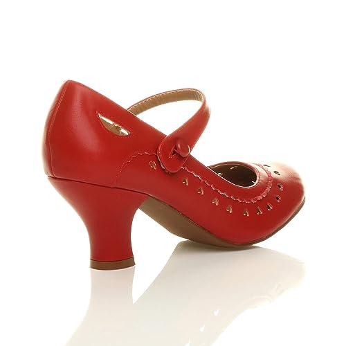 Damen Herzmuster Mary Jane Mittlerer Absatz Feinmachen Pumps Schuhe Größe 36 3 eNCmAK71V