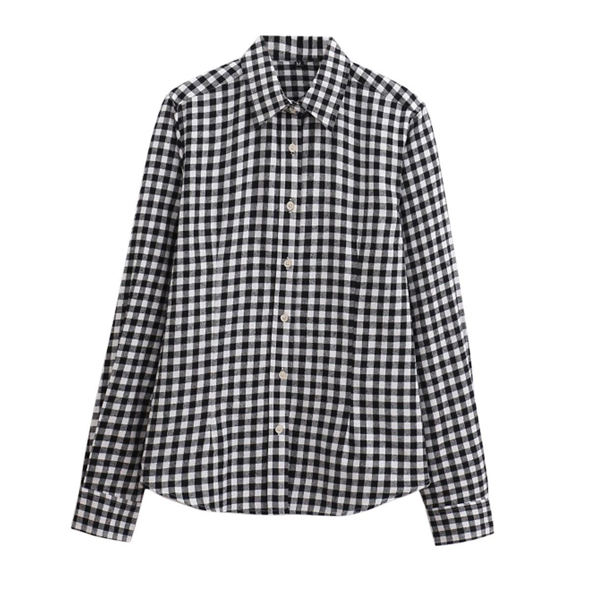 1940s Blouses and Tops Cekaso Womens Gingham Shirt Cotton Slim Fit Long Sleeve Button Up Plaid Shirt $24.99 AT vintagedancer.com