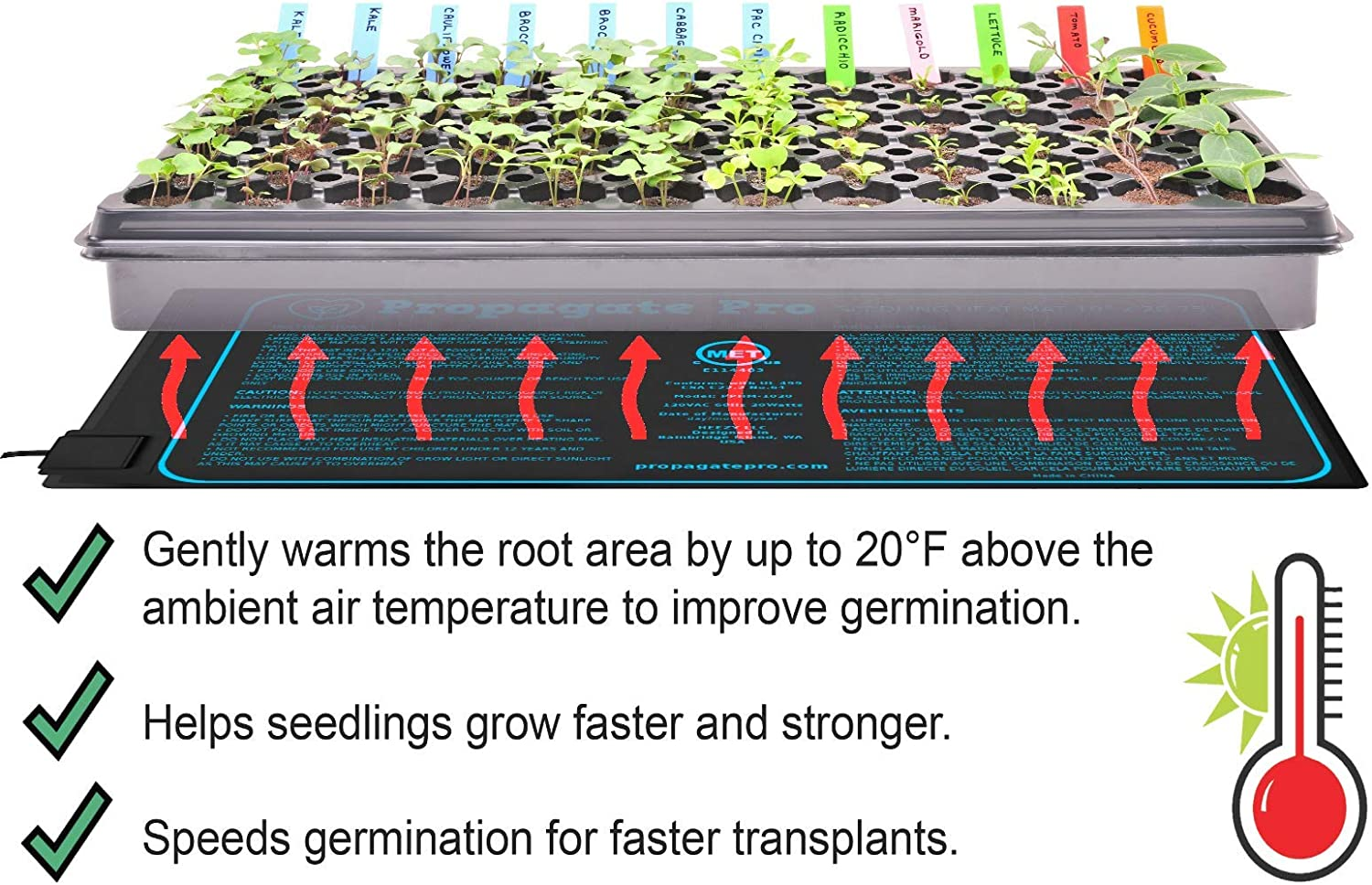 Propagate Pro Seedling Heating Mat Fits 1 Standard 1020 Tray Germination Grow Heat Pad for Seed Starter Plants Soil Warmer for Indoor Home Gardening 10×20 Single Heating Thermostat