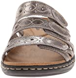 CLARKS Women's Leisa Cacti Slide Sandal, Pewter