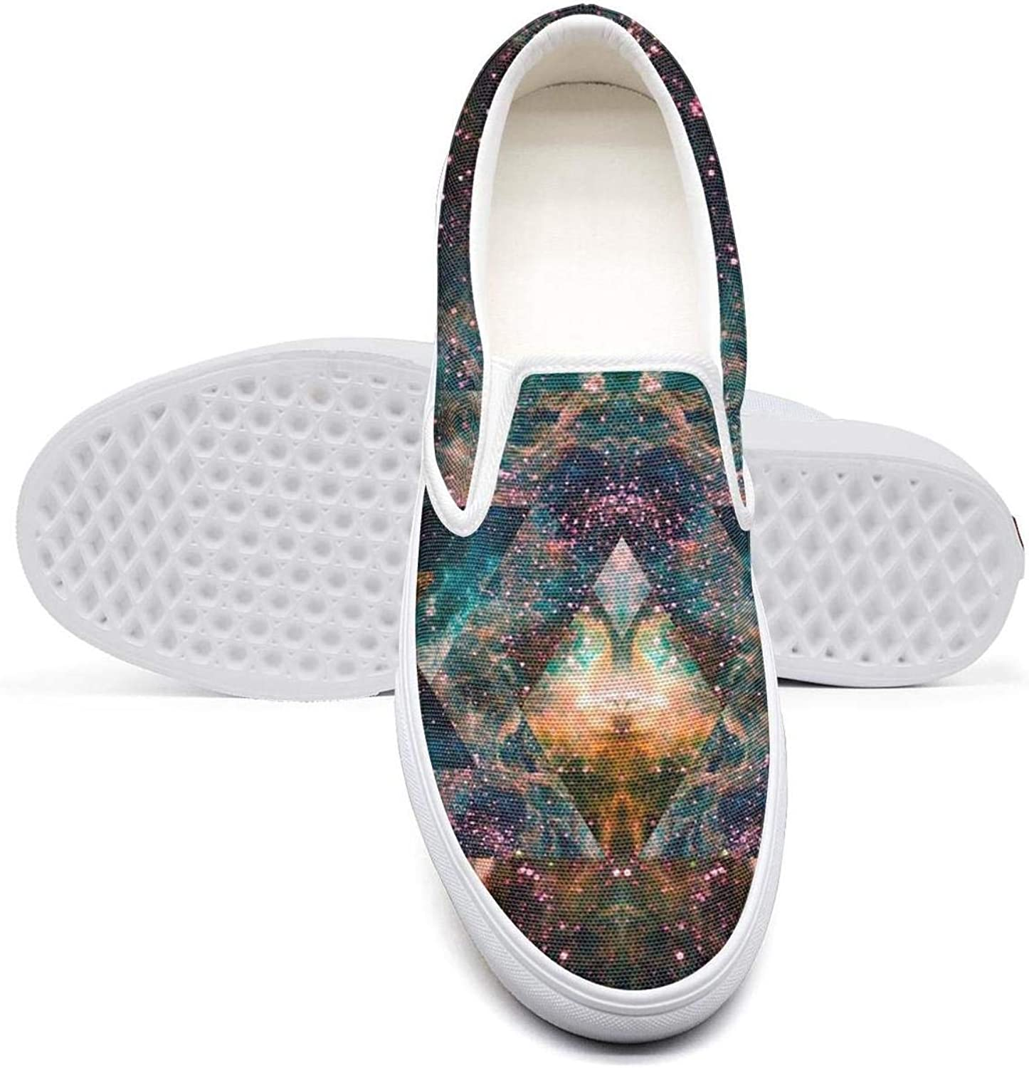 Women's Colorful Art Abstract Cartoon Pattern Casual Sneaker Hip hop Canvas Jogger Rubber Sole Walking Shoes