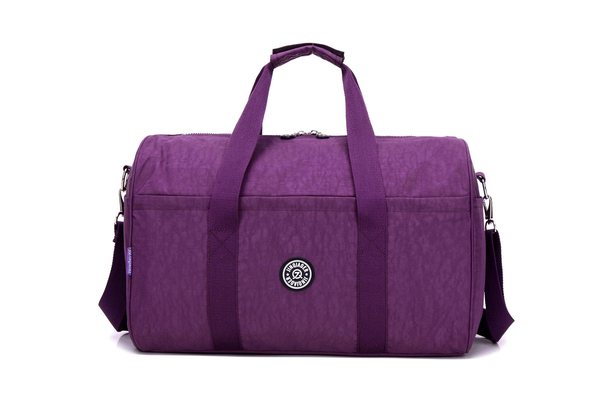 GuiShi(TM) 17'' Large Travel Sports Gym Bag Travel Duffel Bag Lightweight Nylon Water Resistant Weekend Bag (Purple)