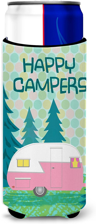 Caroline's Treasures VHA3004MUK Happy Campers Glamping Trailer Ultra Beverage Insulators for slim cans, Slim Can, multicolor