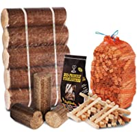 WINTER FIRE PIT CHIMINEA STARTER PACK Large Wood Heat Fuel Logs, 3kg Kindling + Eco FireLighters - Comes with THE LOG HUT® Woven Sack.